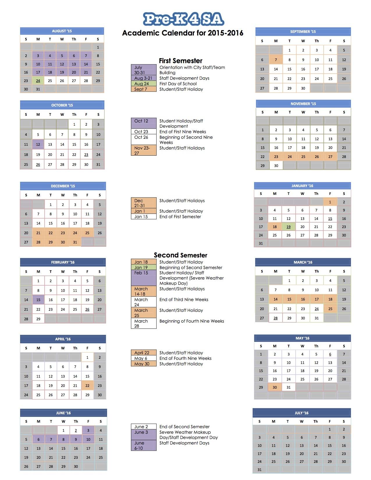 2016 School Calendar