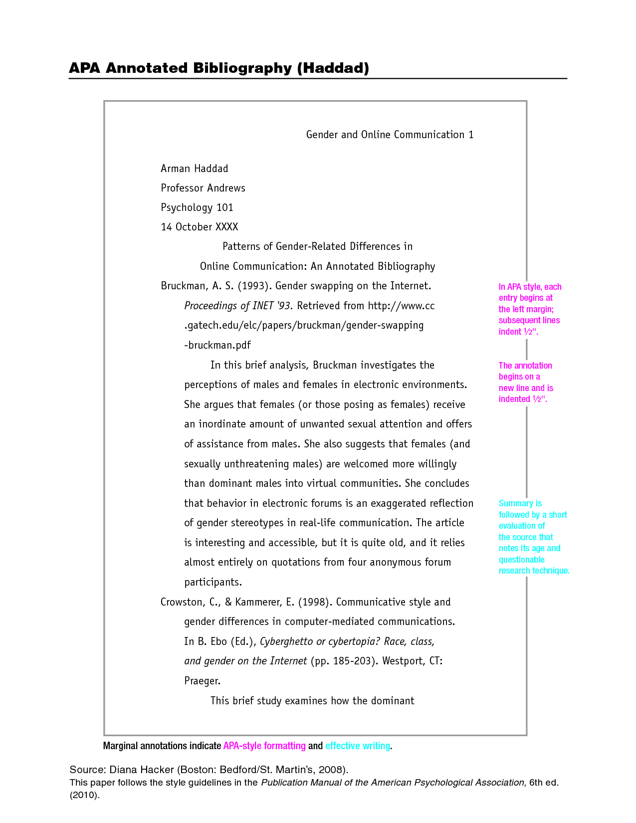 sample papers in apa format The following are sample pages in apa format a similar study of students learning to format research papers was conducted in 2010 by j webber.