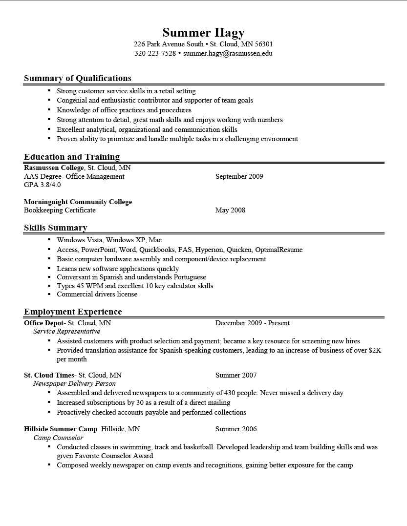 Best Example Of A Resumes
