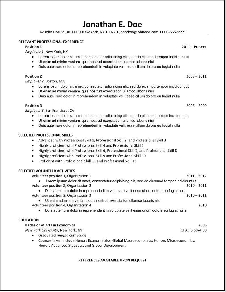 best resume format - Top Resume Formats