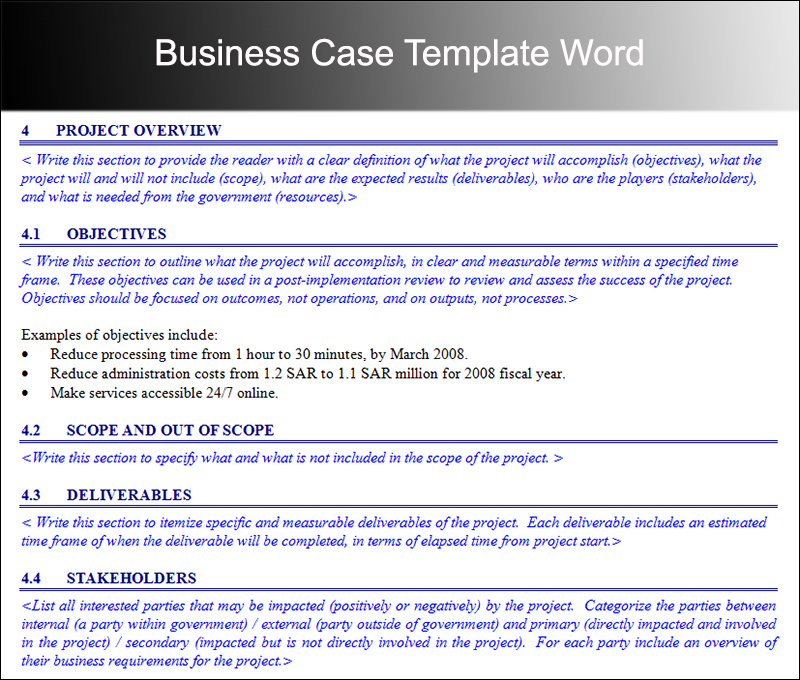 Prince2 Business Case Template Business Case Template