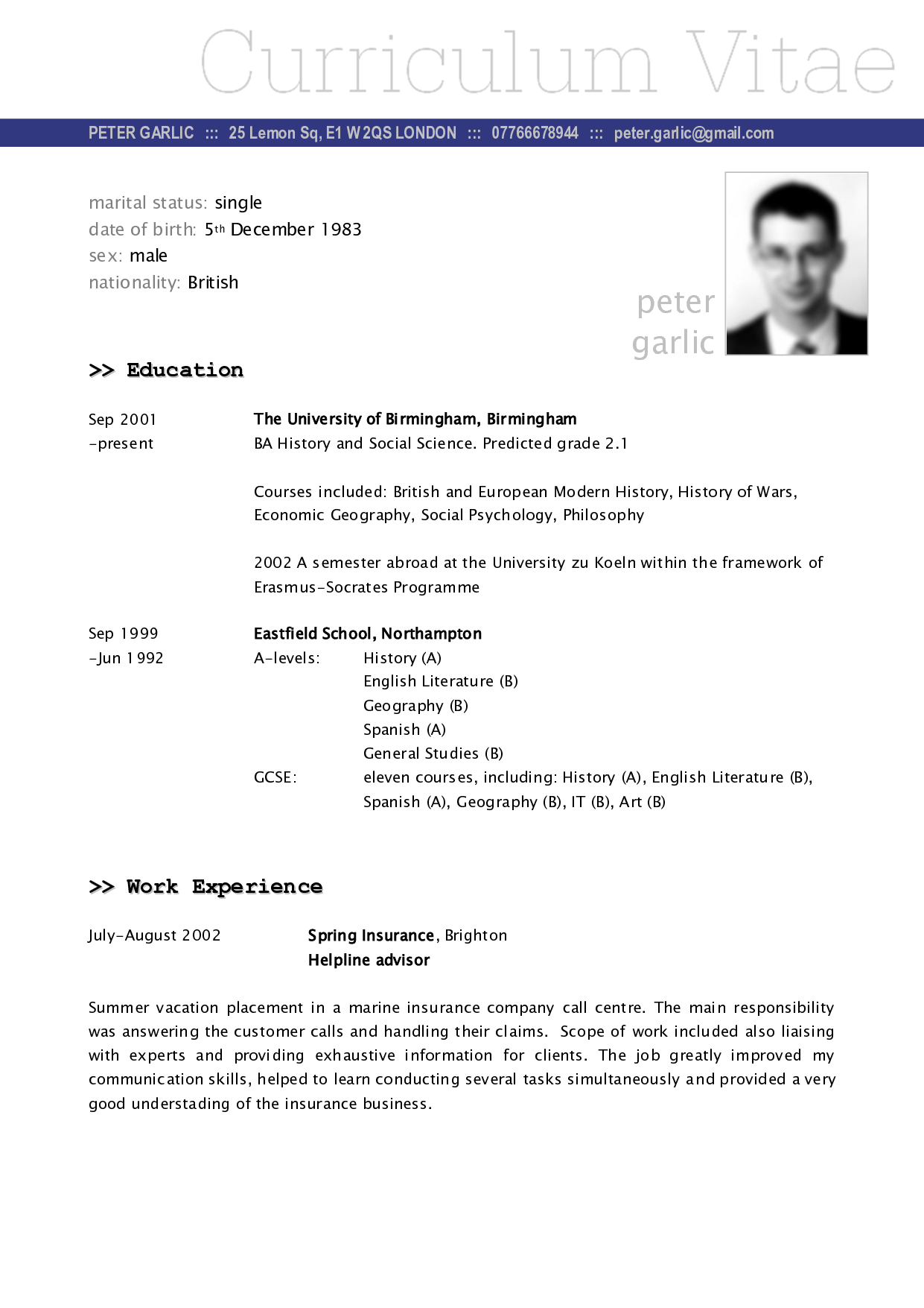 Sample Of A Cv