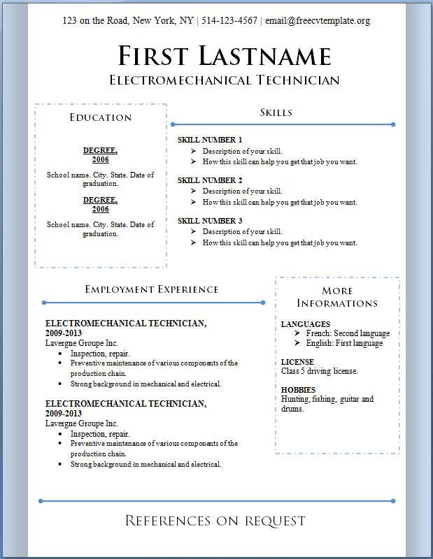 Free Resume Templates Microsoft Word Download Modern Resume