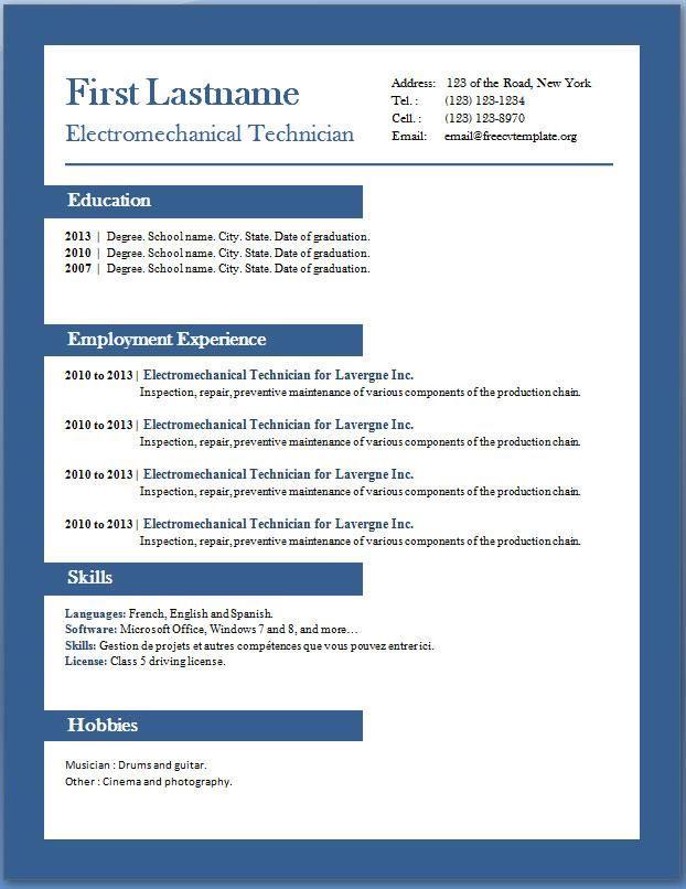 cv - Microsoft Resume Templates 2010