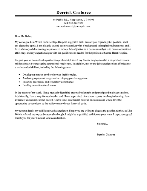 Referral Cover Letter Samples