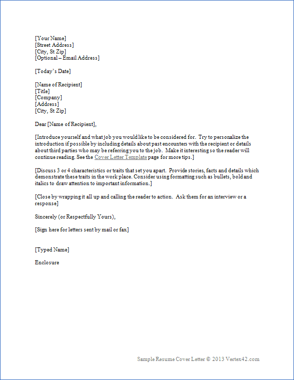 Cover Letter for Resume