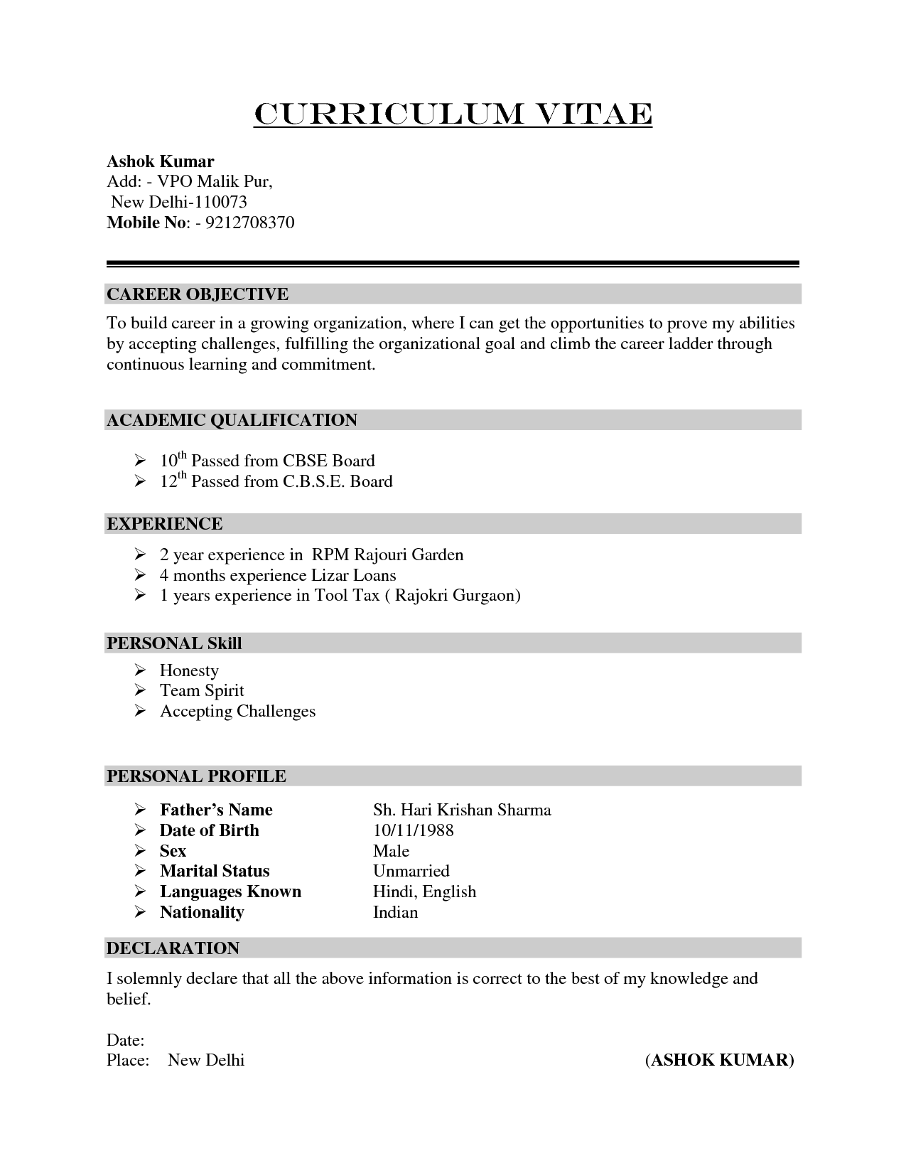 Curriculum Vitae Cv Samples | Fotolip.Rich image and wallpaper