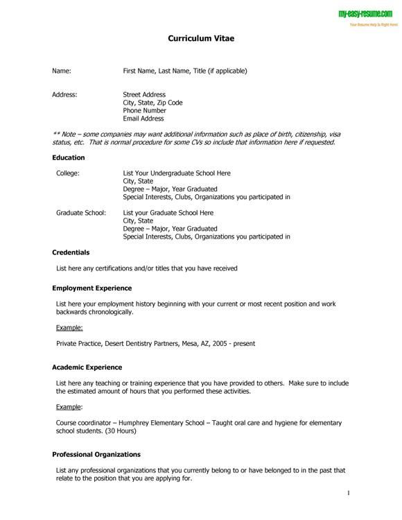 Curriculum Vitae Cv Samples