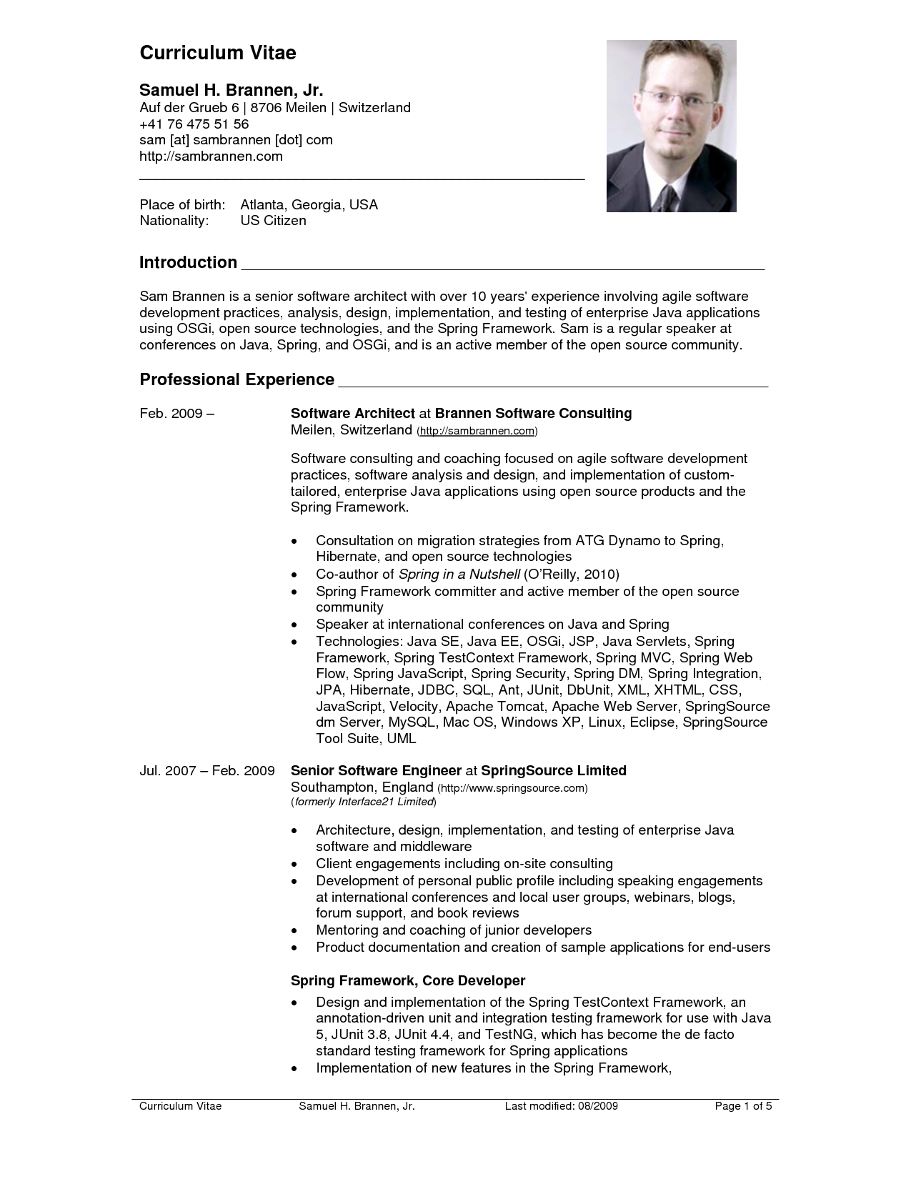Curriculum Vitae Format