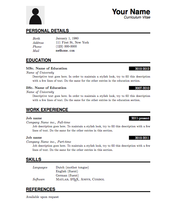 Curriculum Vitae Format Information Technology Drstuckey Com Au