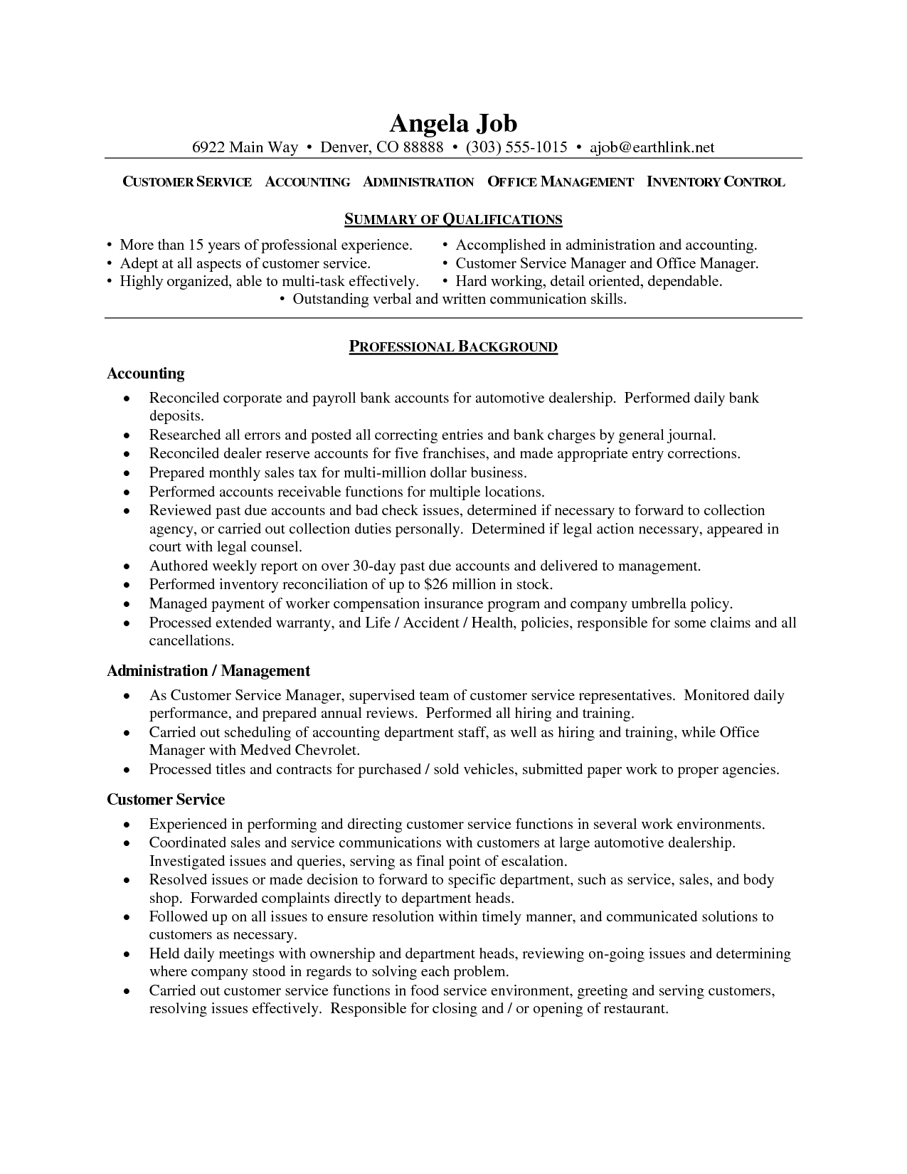 Customer Service Resume – Objective for Resume for Customer Service