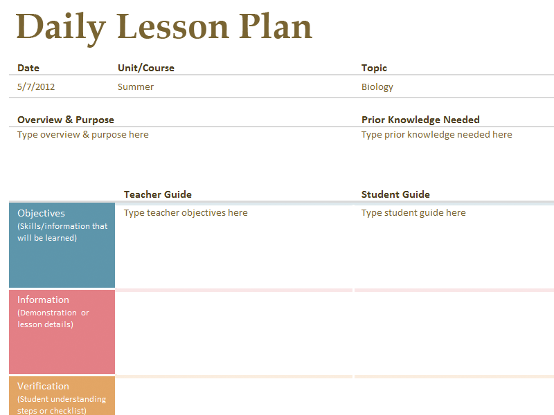 Exceptionnel Daily Lesson Plan Template