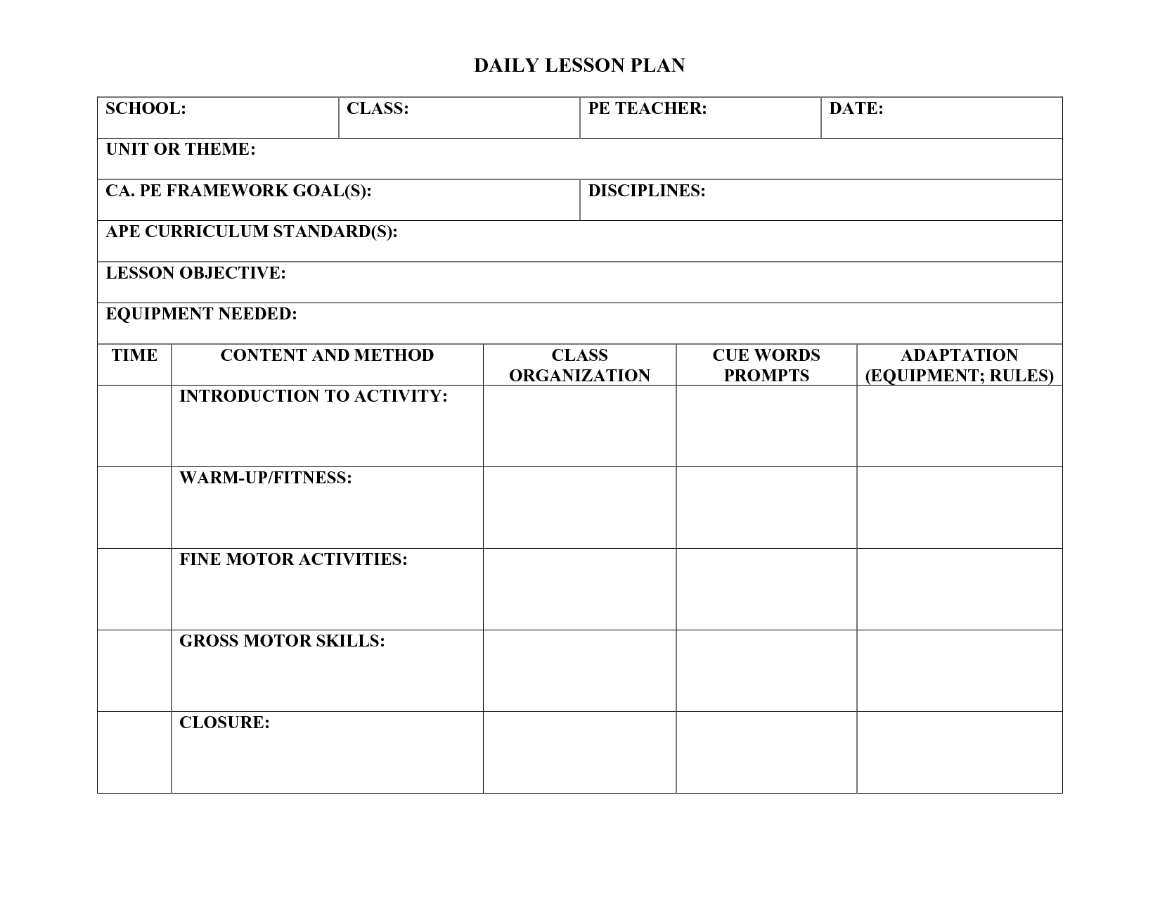 Daily lesson plan template rich image and for World language lesson plan template