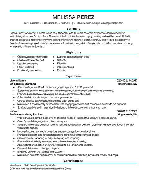 Nanny Resume Examples | Resume Format Download Pdf
