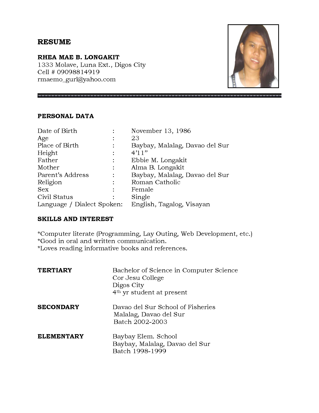 Example Of Resume Throughout Example Of Personal Resume