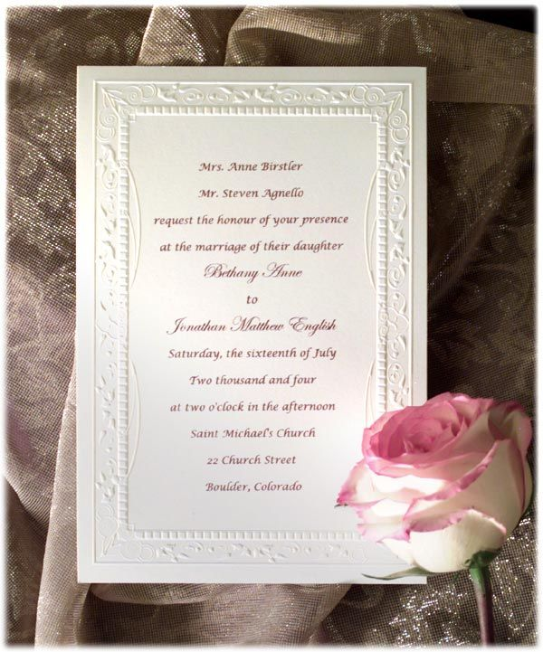 Wedding Invitation Sms Sample: Formal Wedding Invitation Wording
