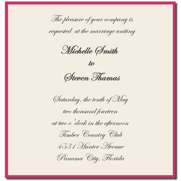 Words For Wedding Invites: Formal Wedding Invitation Wording