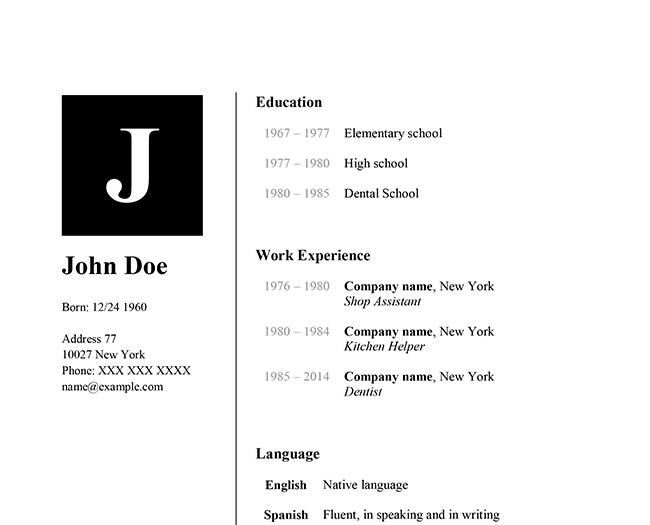 Clean One Page Resume Template - Pages Resume Templates Screenshot