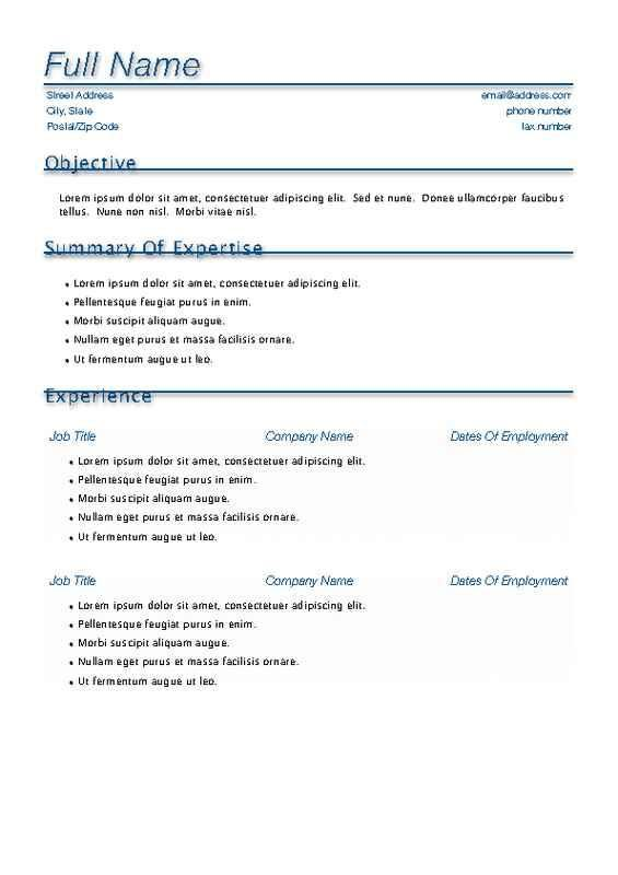 Home Design Ideas. Free Resume Templates For Pages One Page Resume