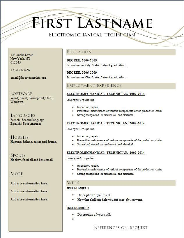 cv resume format download - Template