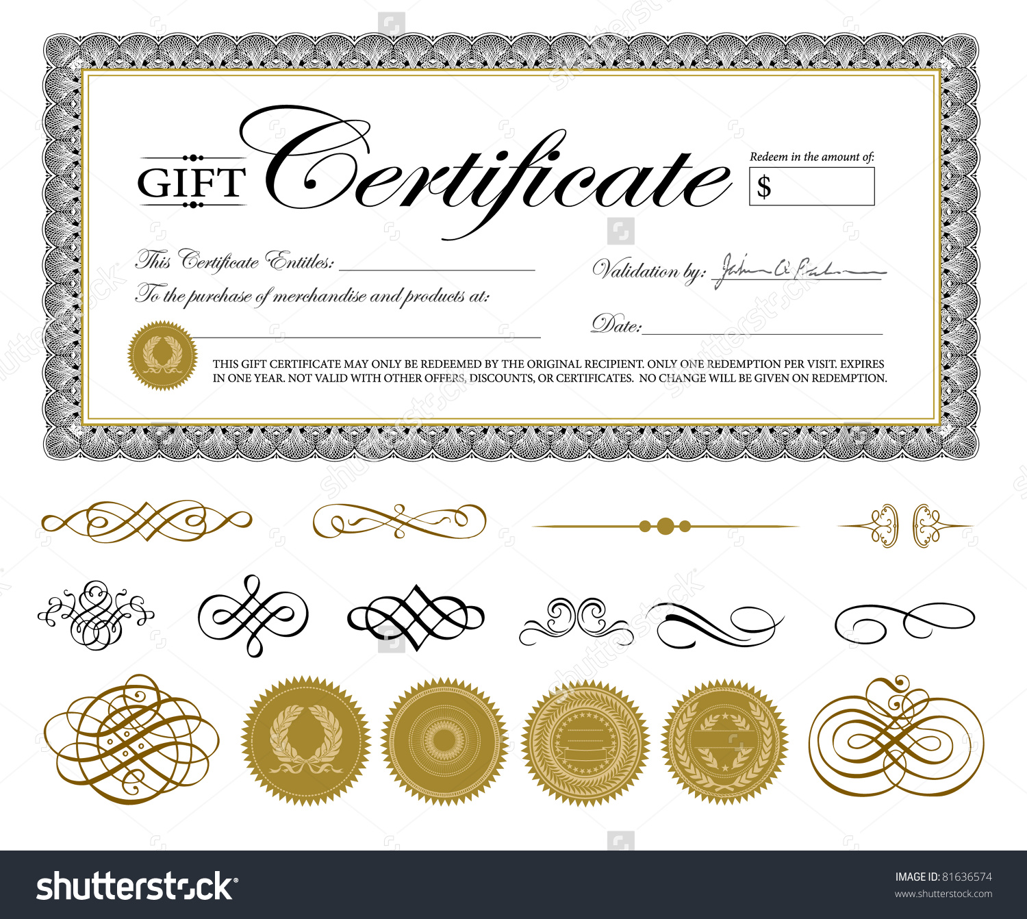 Gift certificate template rich image and for Certificate design template