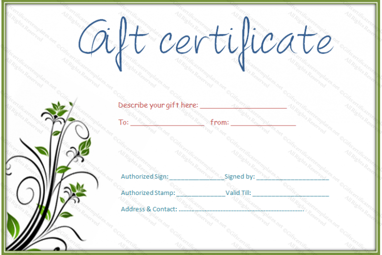 Gift certificate template rich image and for Free printable hair salon gift certificate template