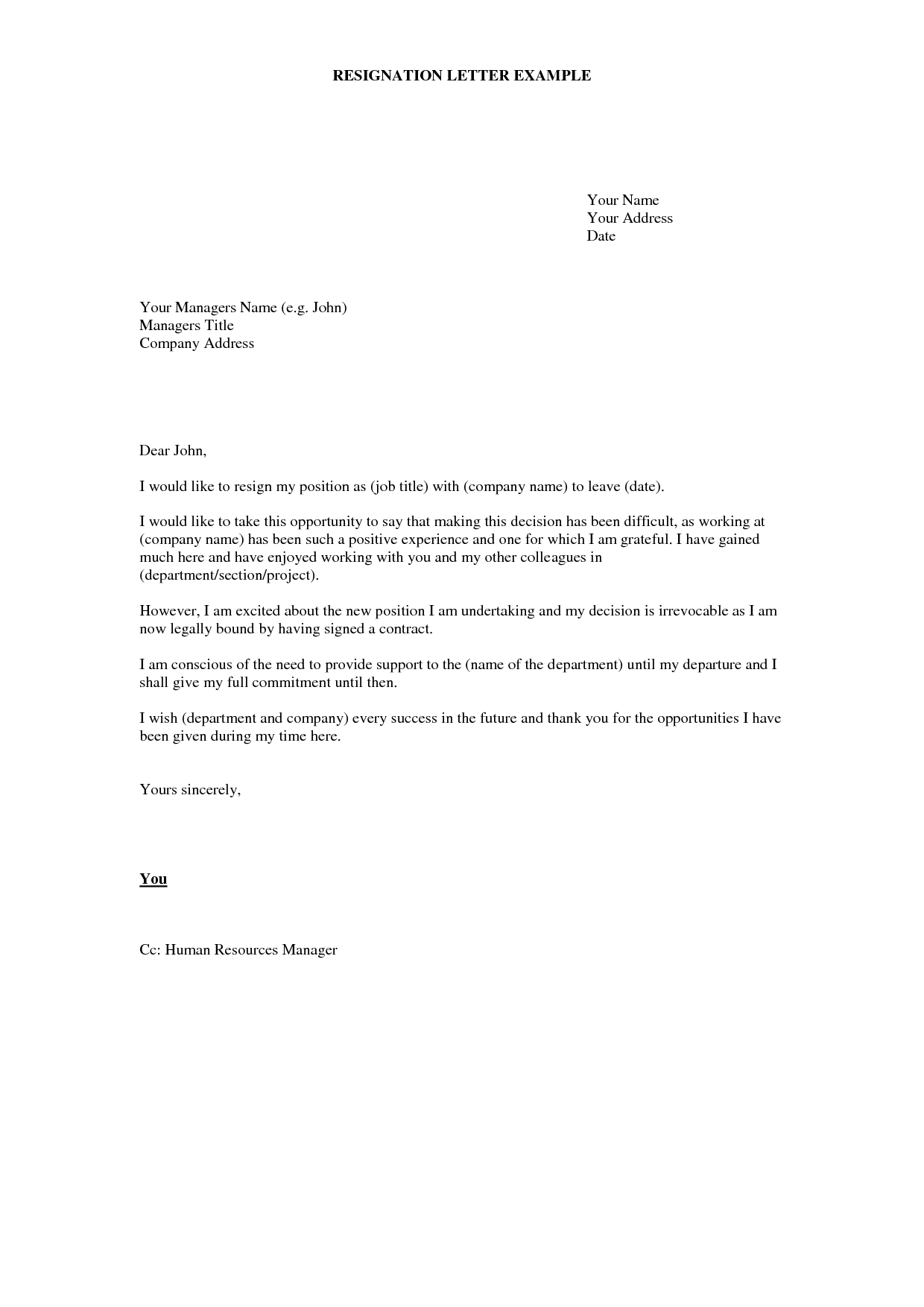 example of resign letter template example of resign letter