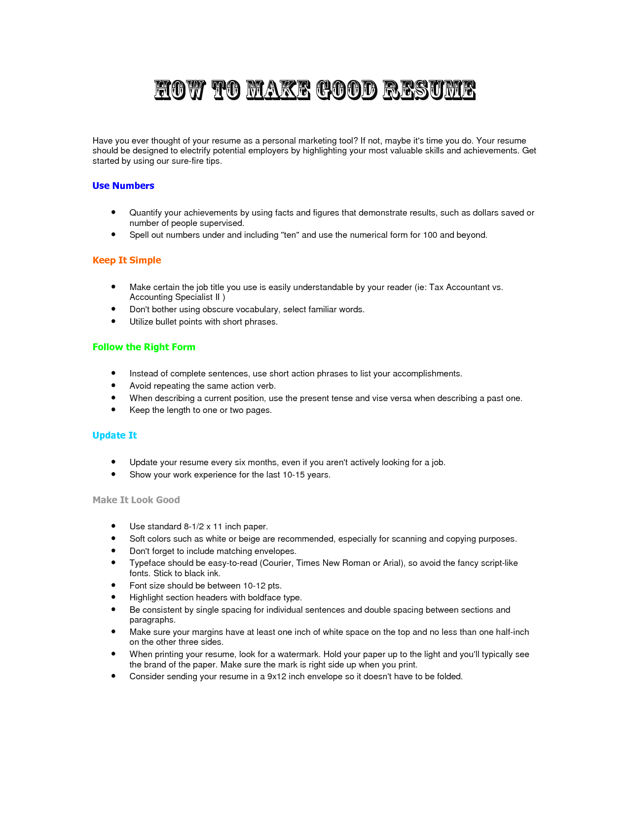 how to make experience resume