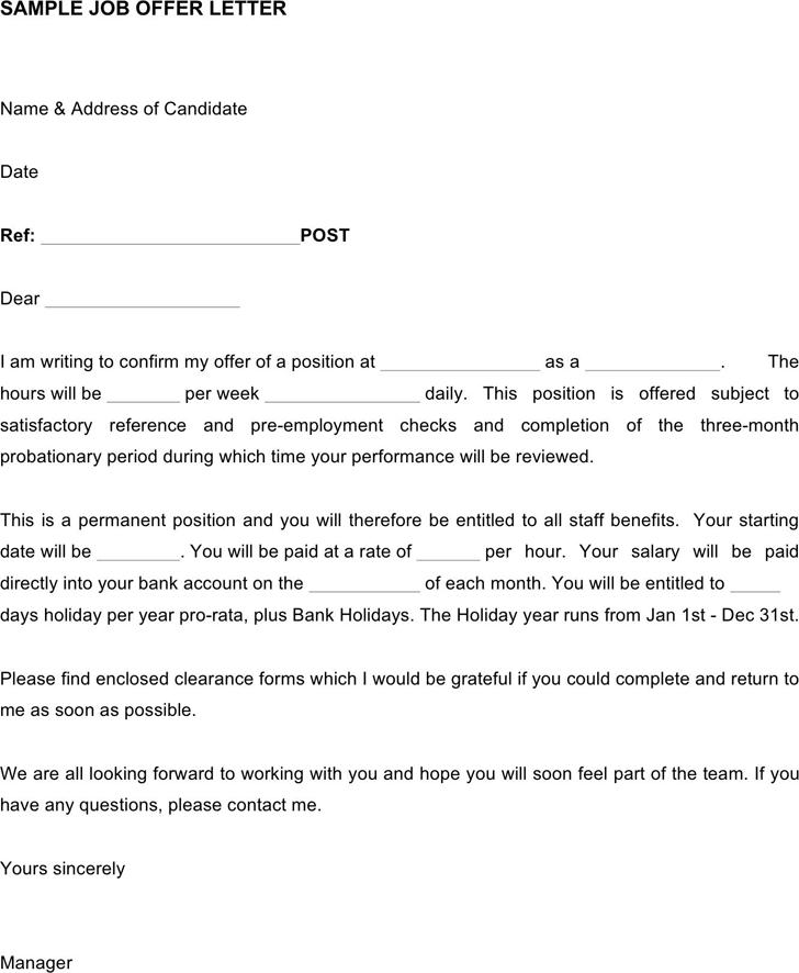 Job Offer Letter Template