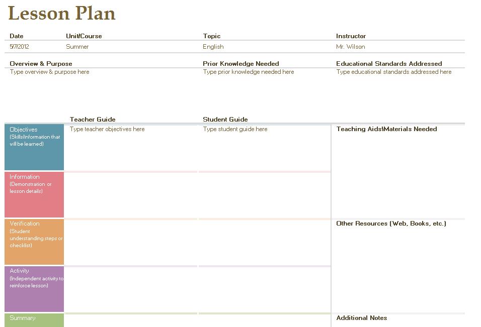 Lesson Plan Format  Fotolip