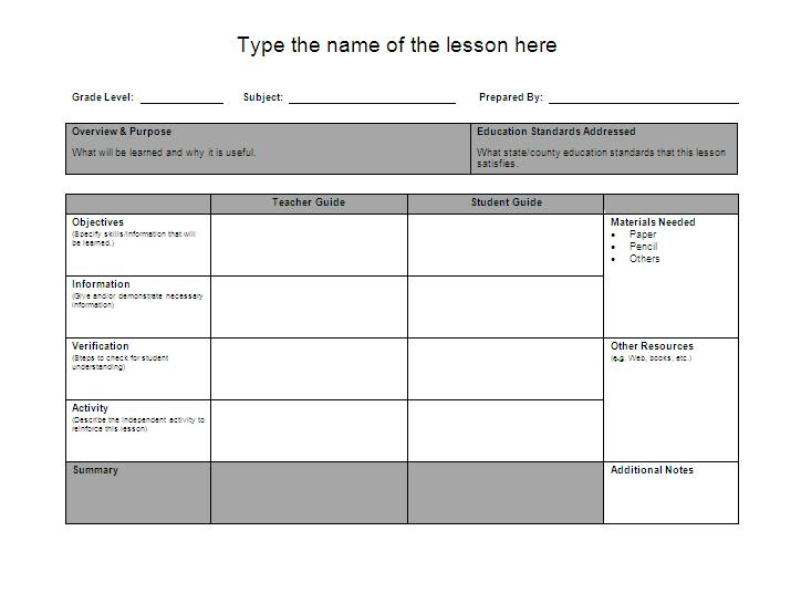 Template lesson plan primary school cute lesson plan for Lesson preparation template
