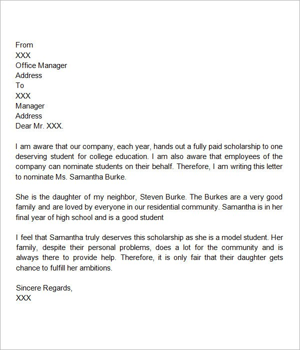 Letter of Recommendation Format