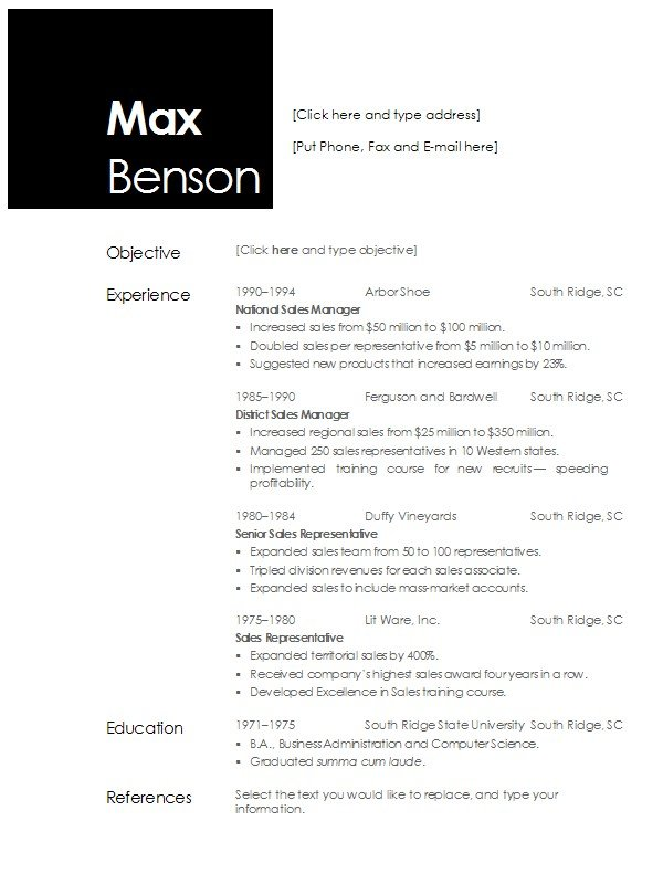 Open fice Resume Template
