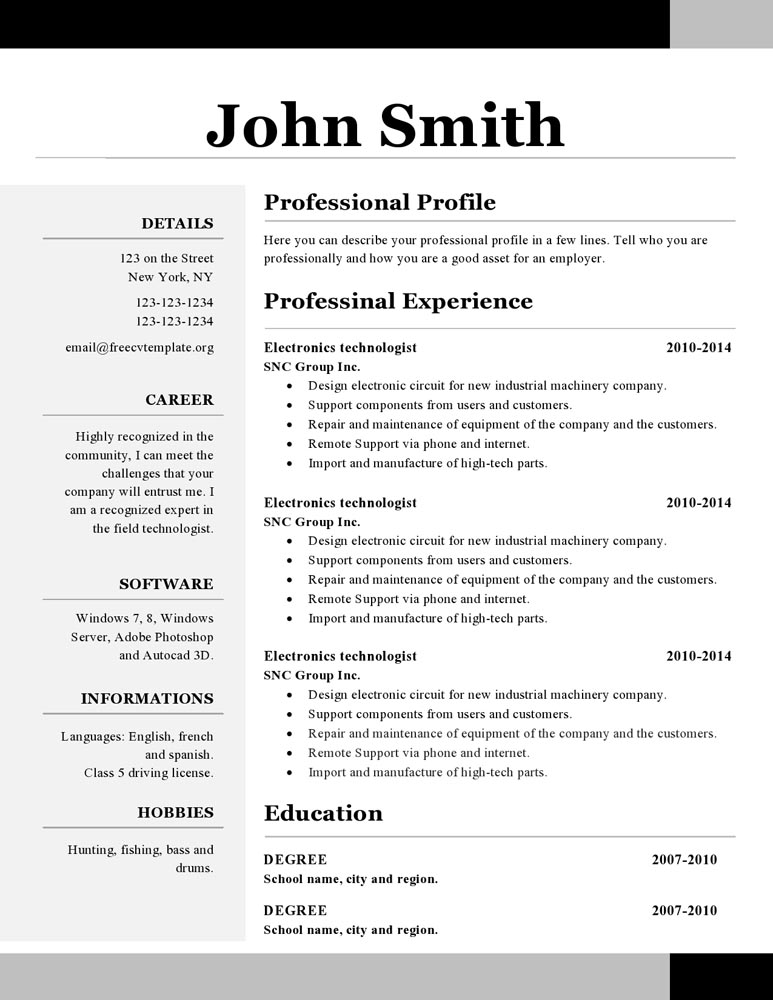Openoffice Resume Template Simple Open Office Free