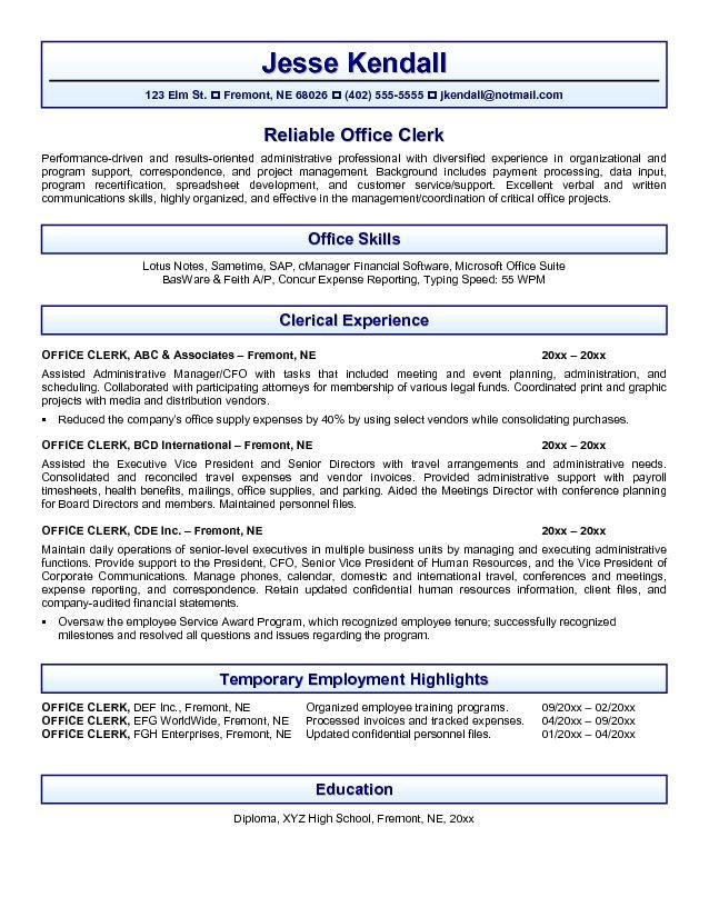 Office Resume Template