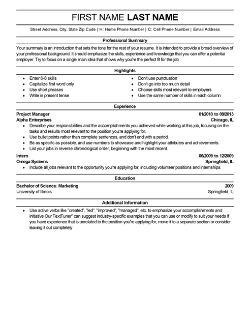 a professional resume samples