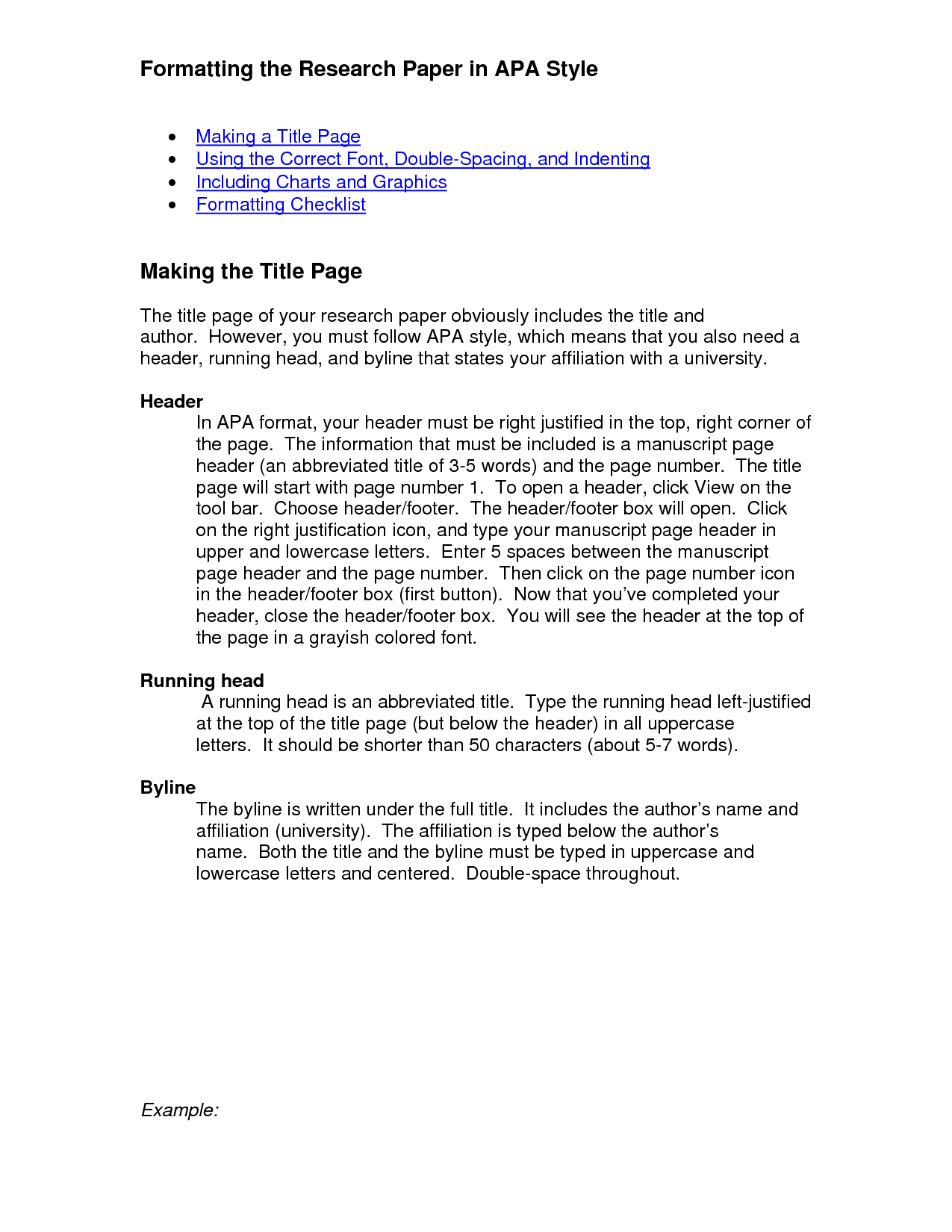 examples of apa format paper This sample paper is an example of a one-experiment paper that demonstrates apa style elements sample two-experiment paper (pdf) this abridged manuscript illustrates the organizational structure characteristic of multiple-experiment papers written in apa style.