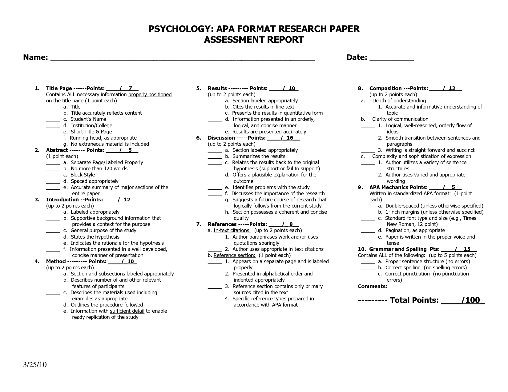 Apa Format For Psychology Research Paper