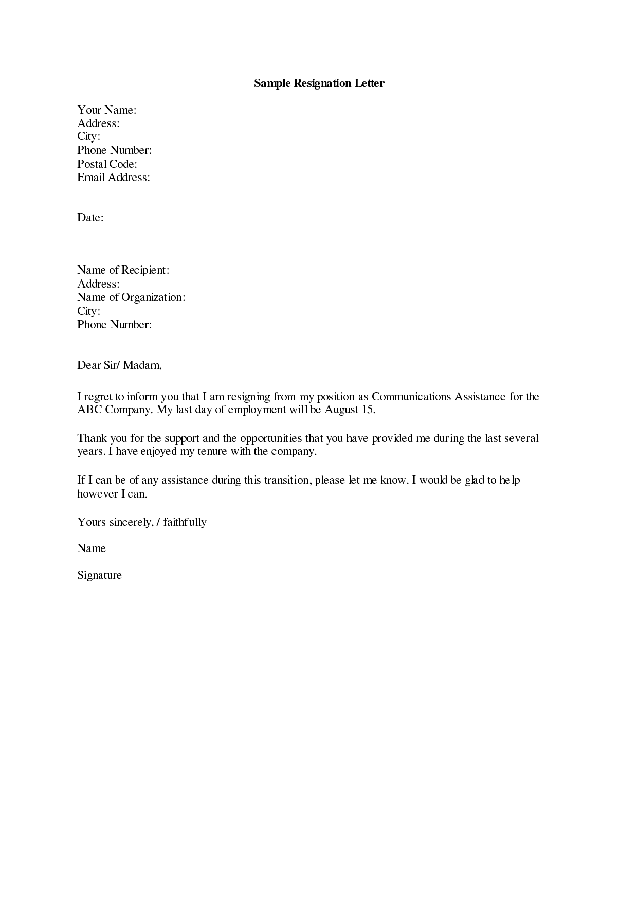 of different resignation letter templates for different resignation ...