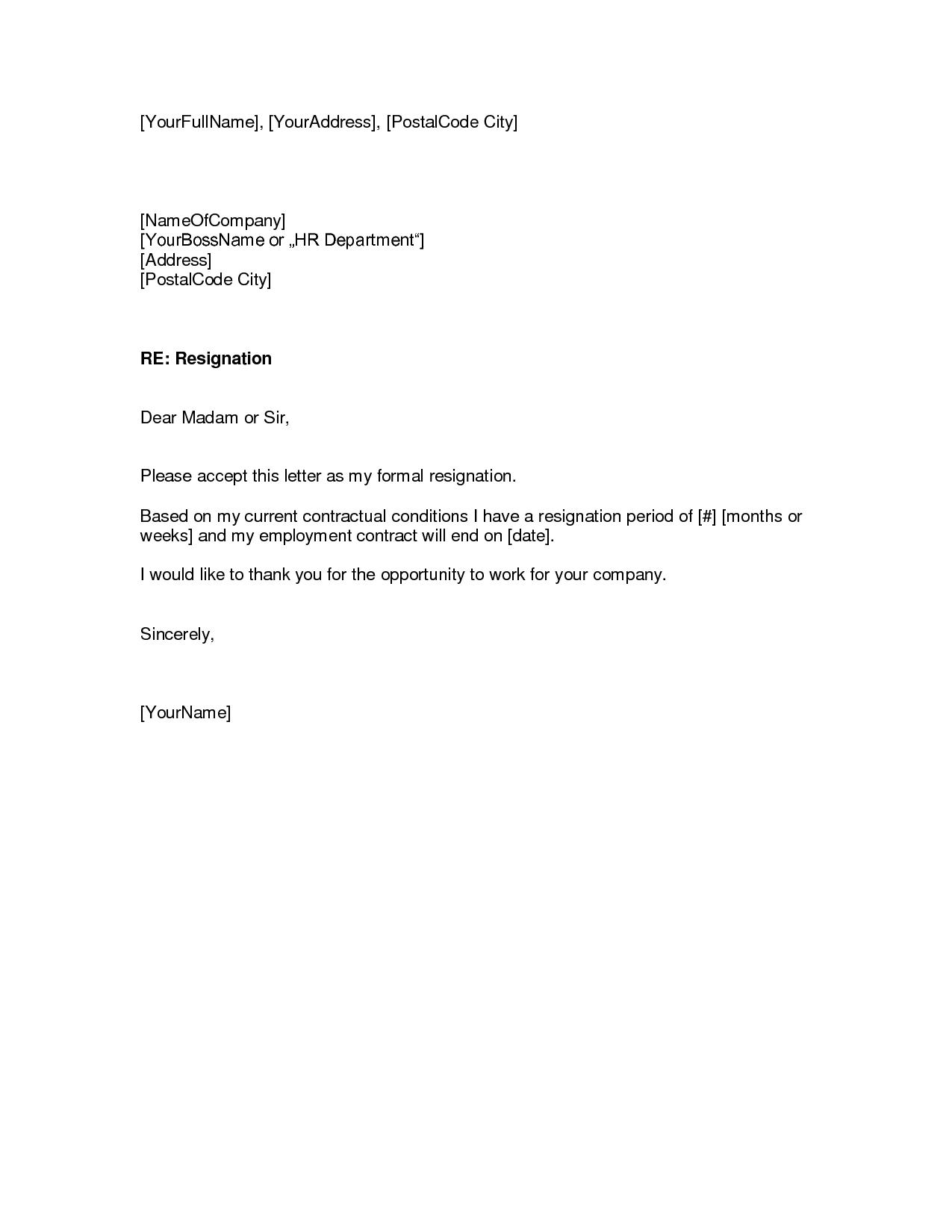 resignation letter template