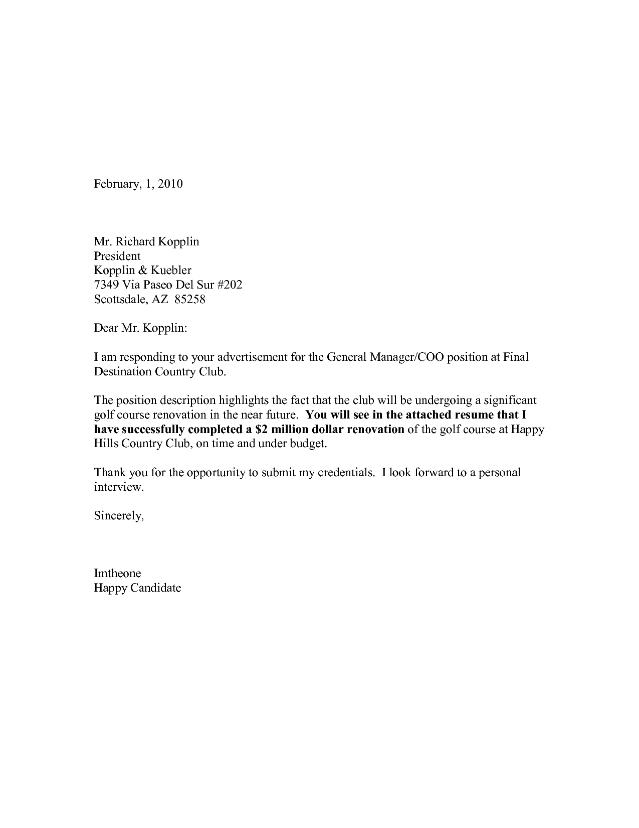 Resume Cover Letter Examples