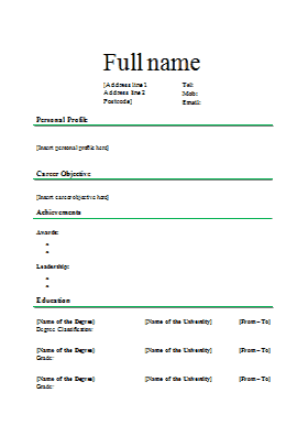 Regular Resume Format resume format