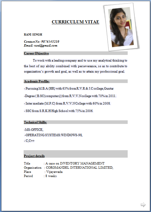 sample resume format pdf - Template