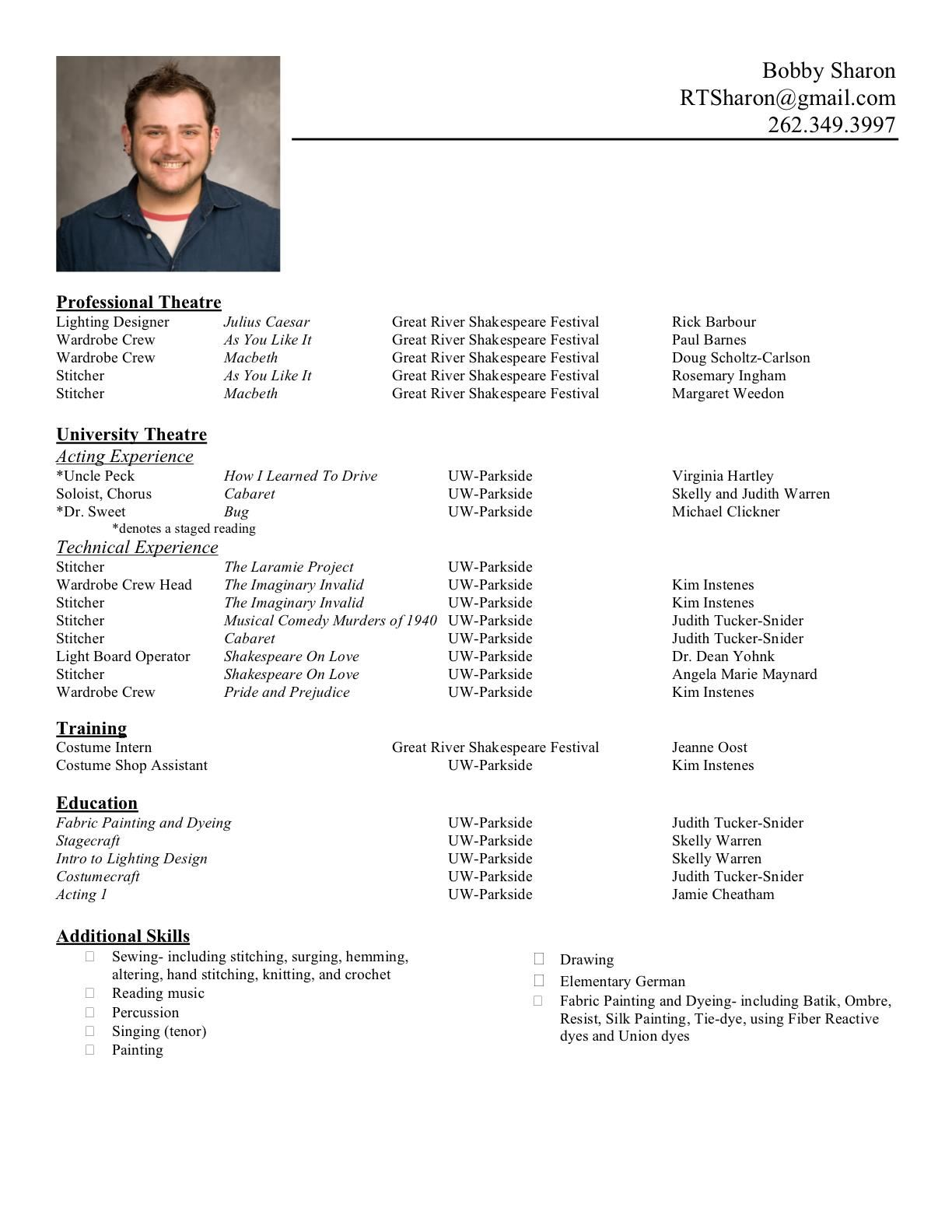 formats of a resume | Template