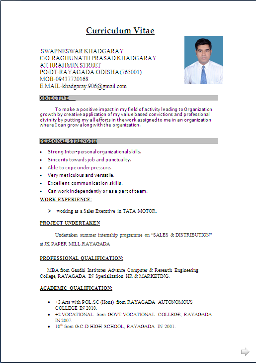 Cv Format For Freshers Mechanical Engineers Download