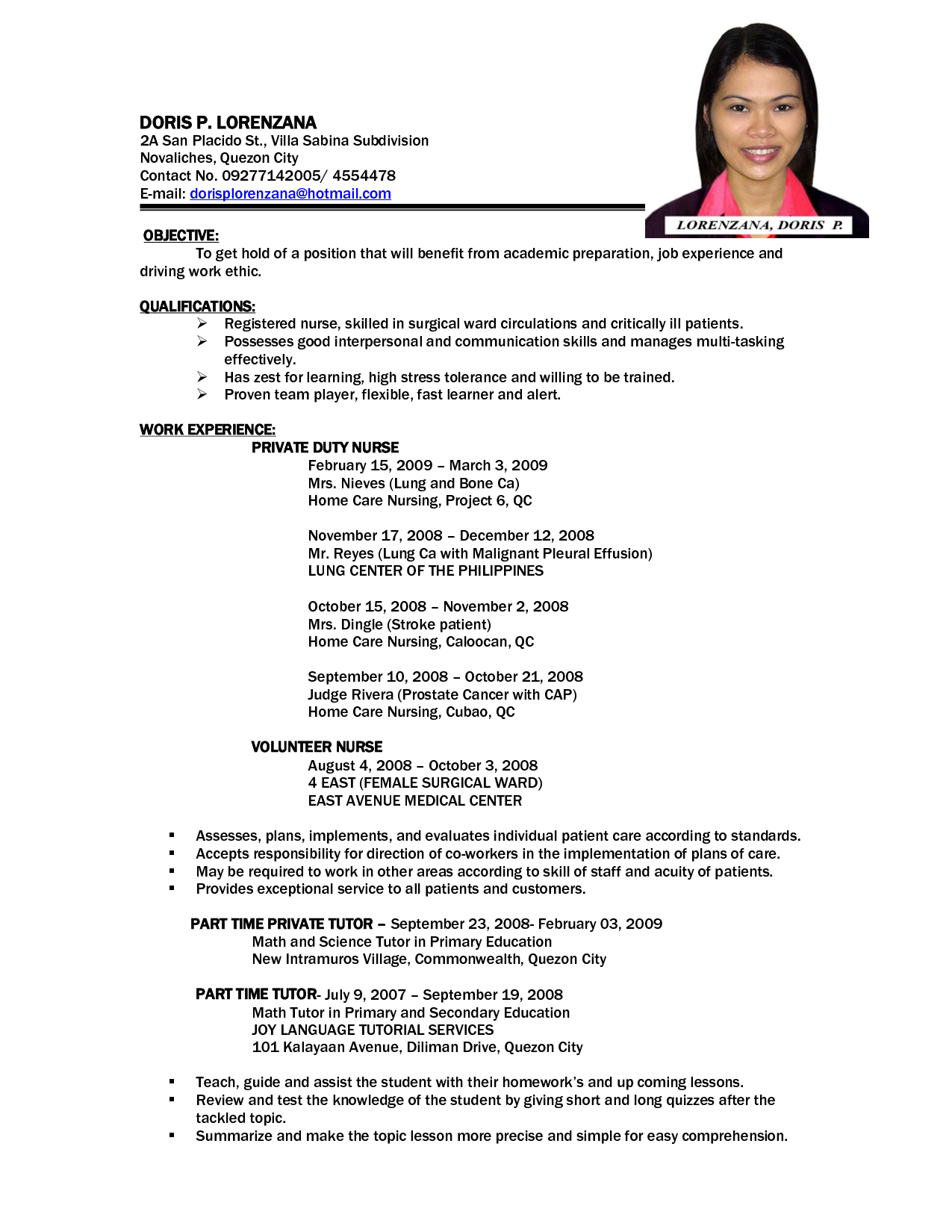 Resume Format Nursing Job