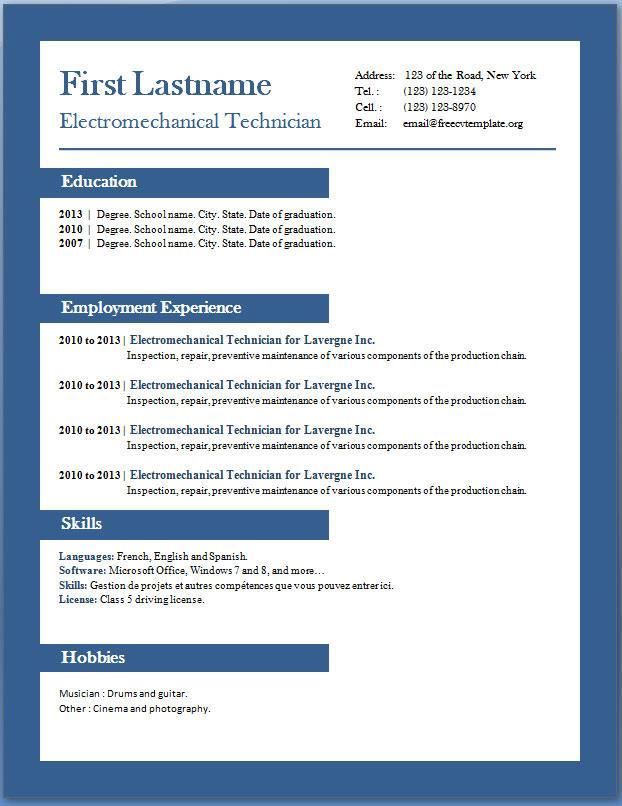 Resume Template Word