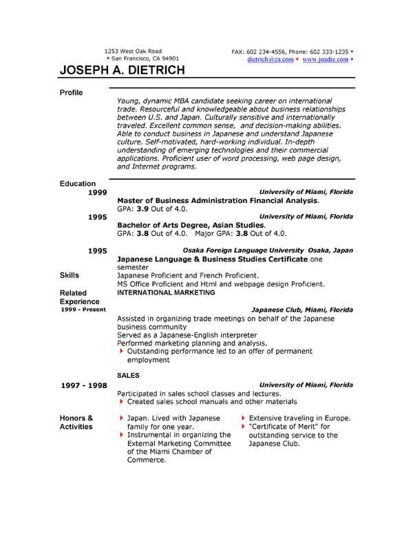 Free Downloadable Resume Templates For Word