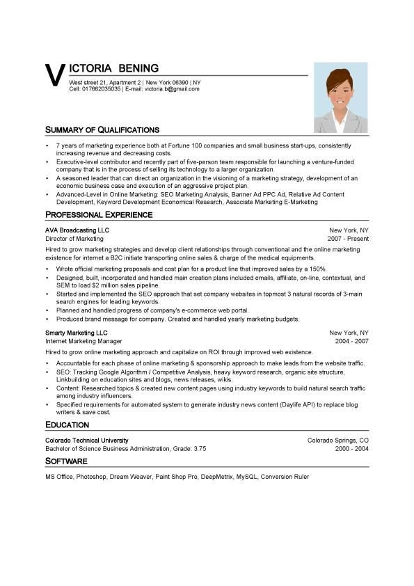 sports resume format template sample asst hr manager executive classic word examples marketing - Marketing Manager Sample Resume