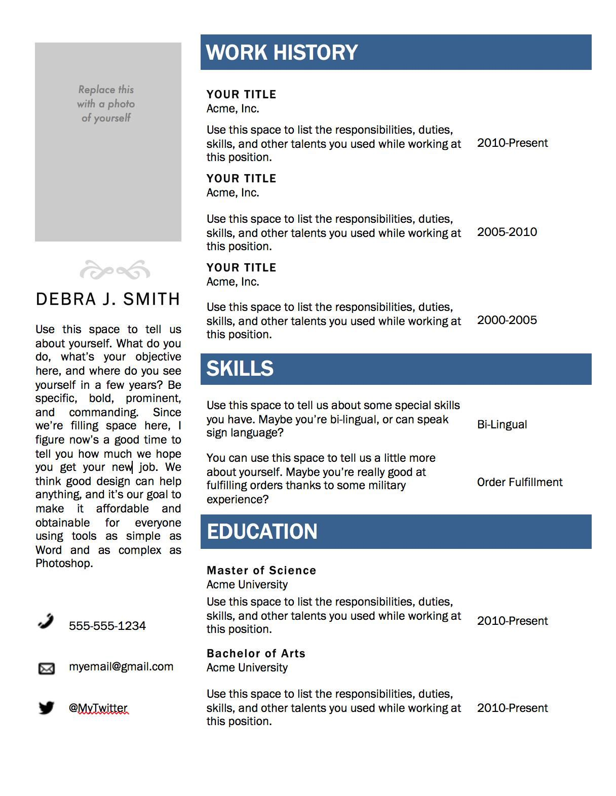 resume templates word - Resume Templates Word 2013